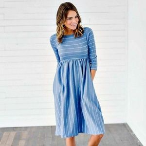 Light Blue White Striped Midi Dress